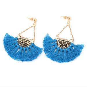 Jewelry - SALE! Blue Tassel Earrings